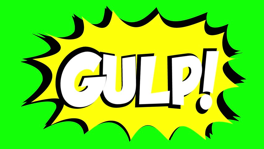 A comic strip speech bubble cartoon animation, with the words Gulp Zzap. White text, yellow shape, green background.