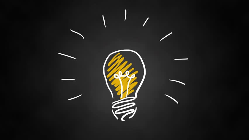 Hand drawn animated light bulb invention or idea concept