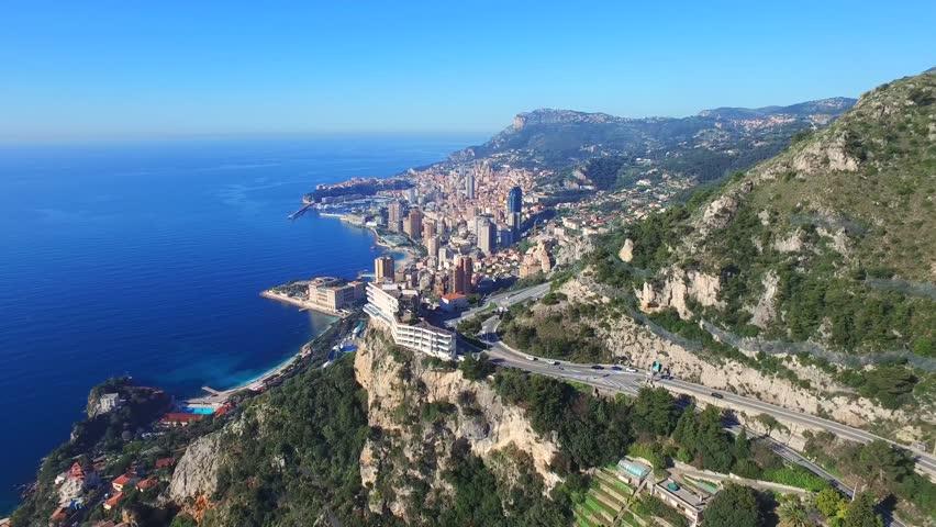 Aerial Drone View of Monaco  Monte Carlo