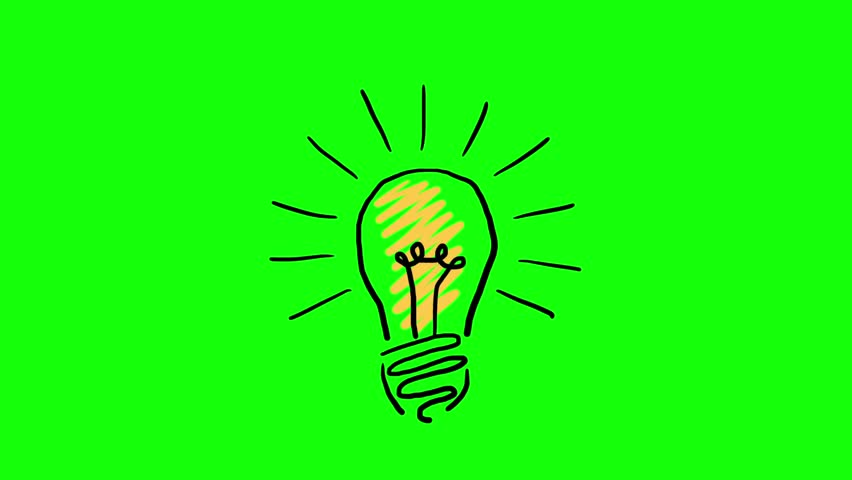 Hand drawn animated light bulb invention or idea concept. Footage included green screen and luma matte