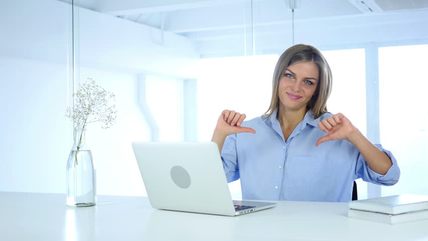 Thumbs Down Gesture by Woman at Her Work | Shutterstock HD Video #30969301