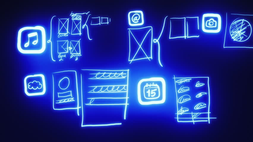 Mobile app wireframing prototyping neon blueprint stock footage mobile app wireframing prototyping neon blueprint stock footage video 3097582 shutterstock malvernweather