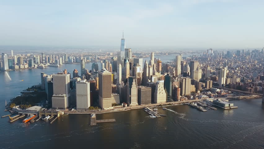 Aerial view of Manhattan district on the shore of the East river. Beautiful cityscape of New York, America.