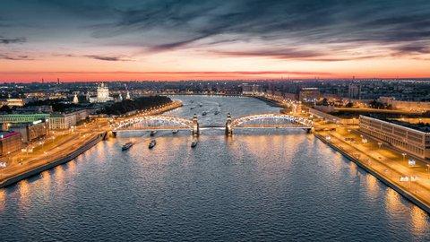 Bolsheokhtinsky Bridge on Neva river at night, St Petersburg, Russia