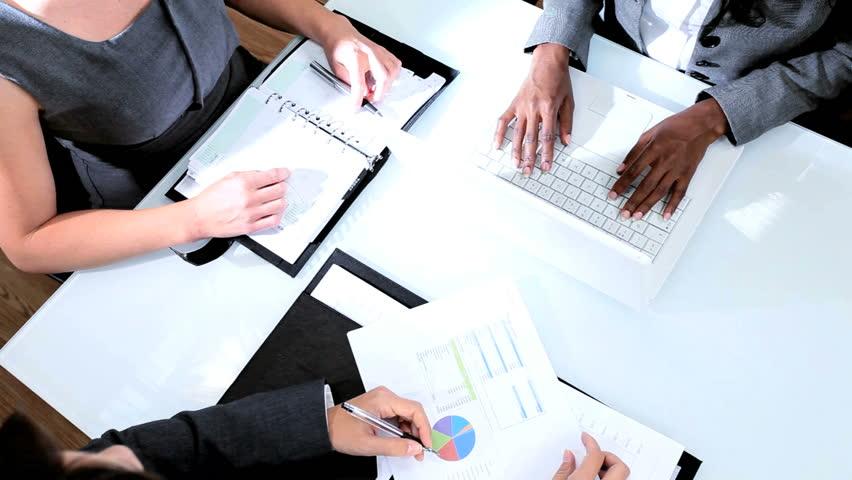 Handshake of diverse business female team closing deal #3099517