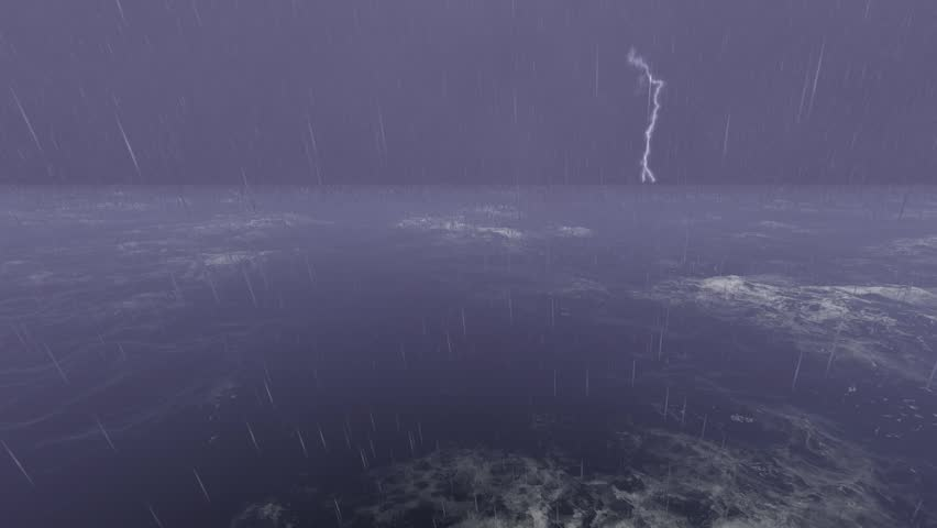 Lightning above Stormy Sea ocean Royalty-Free Stock Footage #31000927