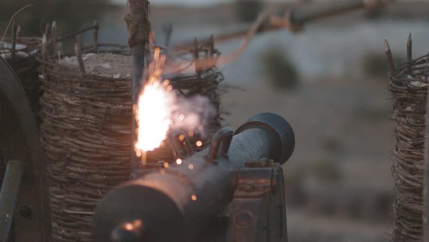 Battle cannon before a shot