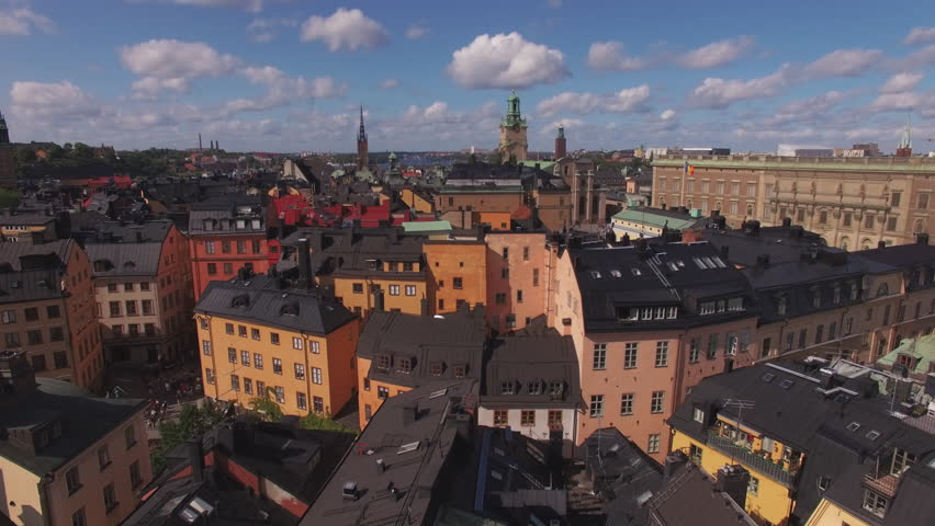 Aerial view of Stockholm Gamla stan. Drone shot flying over city buildings in the Old Town of Stockholm, Sweden Royalty-Free Stock Footage #31016098