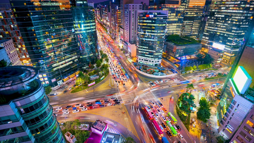 Timelapse Traffic at night in Gangnam City Seoul, South Korea.