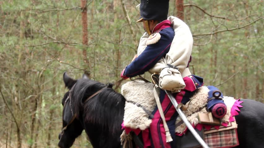French cavalry is saddling his horse