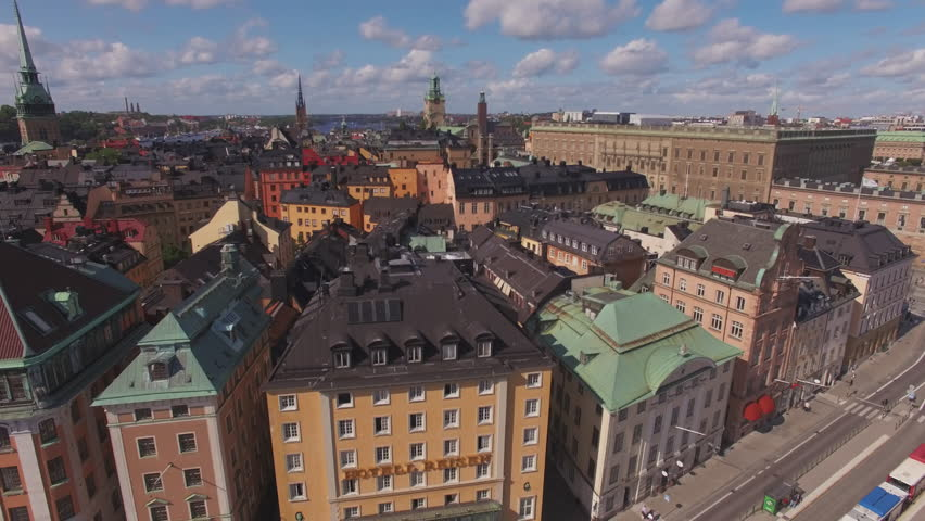 Aerial Stockholm city center. View of Old Town buildings and Stockholm Palace Royalty-Free Stock Footage #31039111