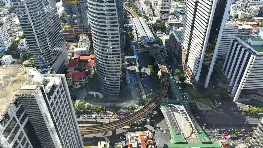 HD Video : Arial view of Cityscape and traffic at Bangkok | Shutterstock HD Video #31042231