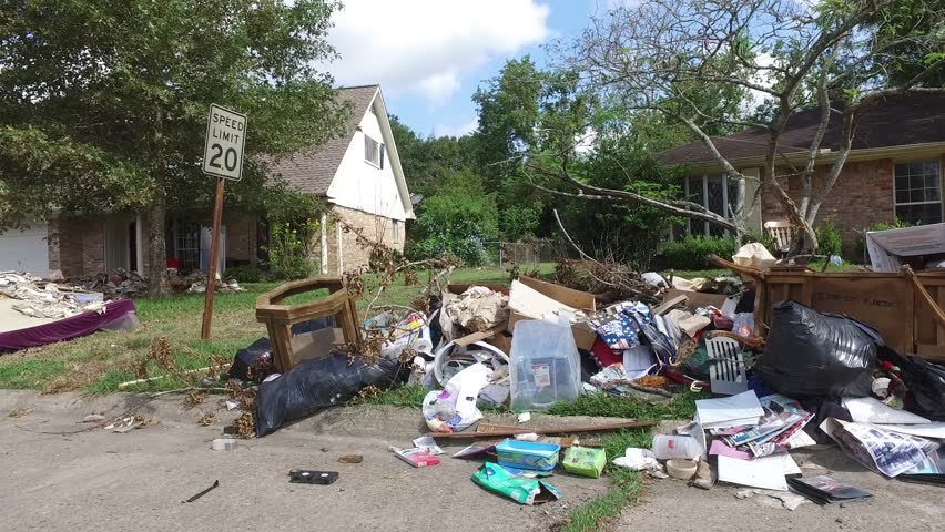The aftermath Hurricane Harvey left on a neighborhood near Houston Texas