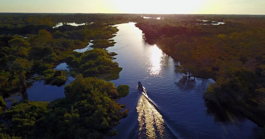 Camera follows the boat sailing on the river towards the sunset. Aerial image of meander in the Pantanal Biome. Vegetation of Native forest. Top view. Mato Grosso do Sul state, Central-Western Brazil.
