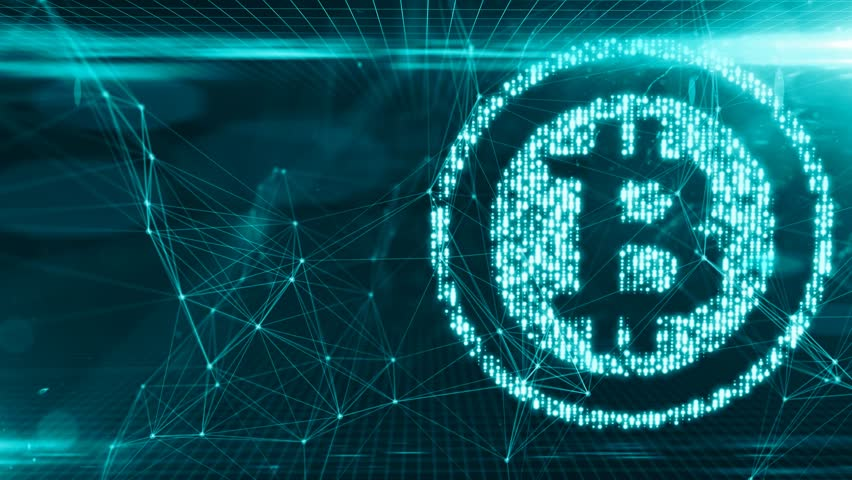 Bitcoin blockchain crypto currency digital encryption network for world money Royalty-Free Stock Footage #31073182