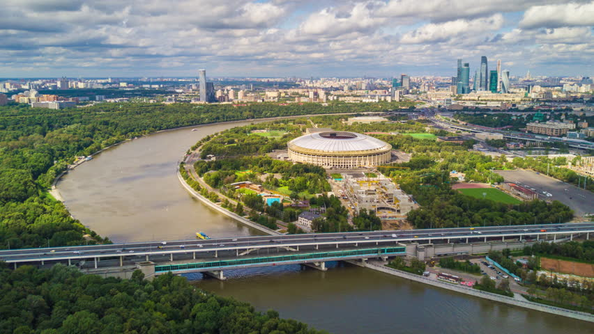 Sunny summer day moscow city river luzhniki complex construction aerial panorama 4k russia