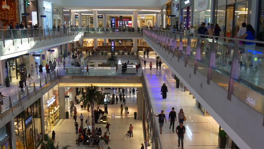 DUBAI, UAE - JANUARY 2017: dubai mall luxury store hall interior crowded walking panorama 4k circa january 2017 dubai, united arab emirates.