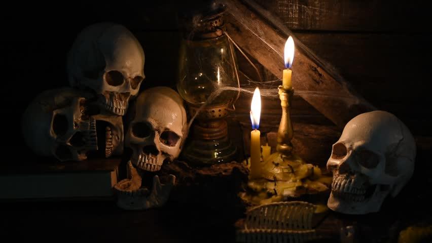 Halloween party decoration in the dark night   Shutterstock HD Video #31083586