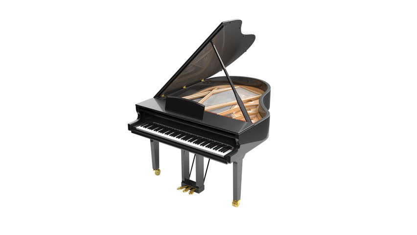 Grand piano isolated on the white background. 3D render animation. Seamless loop.
