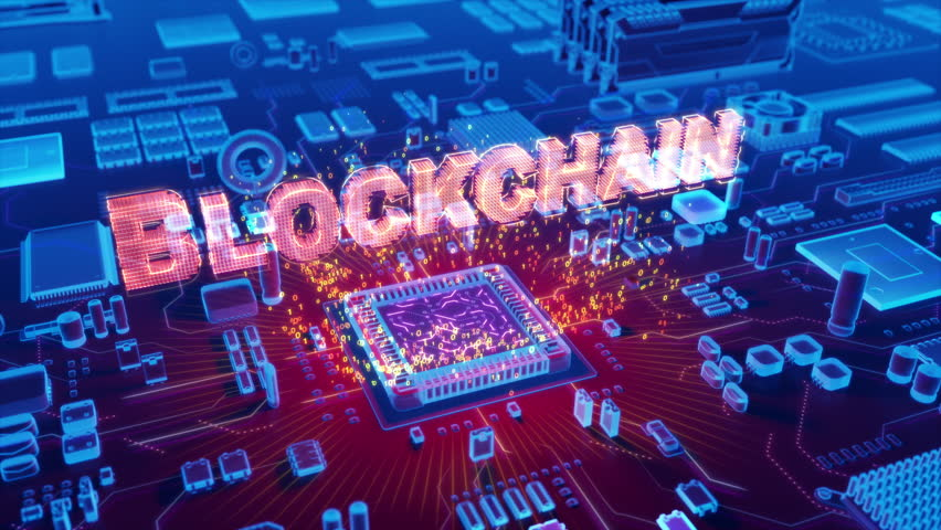 Futuristic animation of holographic Blockchain text emerging from microprocessor on electronic circuit board