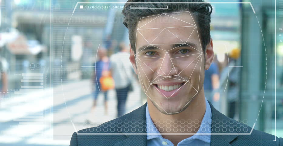 A businessman as bank and telephone bank protection has facial recognition, thanks to increased reality and futuristic technology. Concept of: cyber security, business, technology and future Royalty-Free Stock Footage #31095220