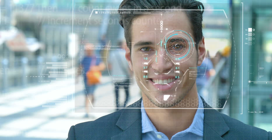 A businessman as bank and telephone bank protection has facial recognition, thanks to increased reality and futuristic technology. Concept of: cyber security, business, technology and future | Shutterstock HD Video #31095232