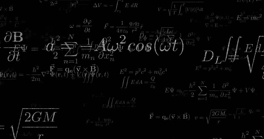Physics concept. Flight through math equations and formulas. 3D rendered seamless looping animation.   Shutterstock HD Video #31102093