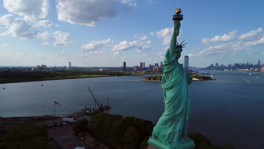 Aerial drone shot Statue of Liberty 4k 60p | Shutterstock HD Video #31104394