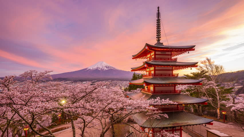 Fujiyoshida, Japan at Chureito Pagoda and Mt. Fuji in the spring with cherry blossoms. | Shutterstock HD Video #31124368