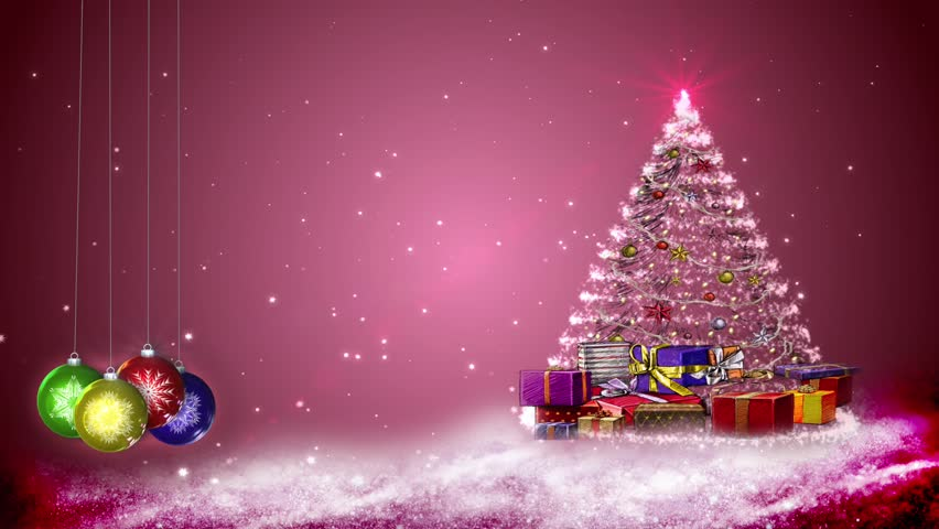 Motion graphics of snowflakes and Christmas decorations. Pink BG.