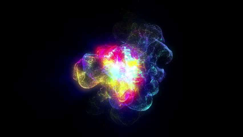 A dynamic source of particles on a black background, emitting particles in waves from different directions.   Shutterstock HD Video #31137562