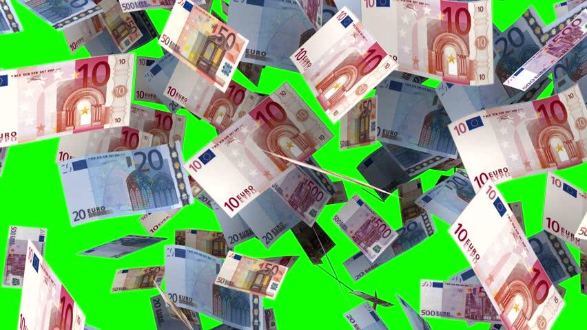 Euro banknotes falling in green screen