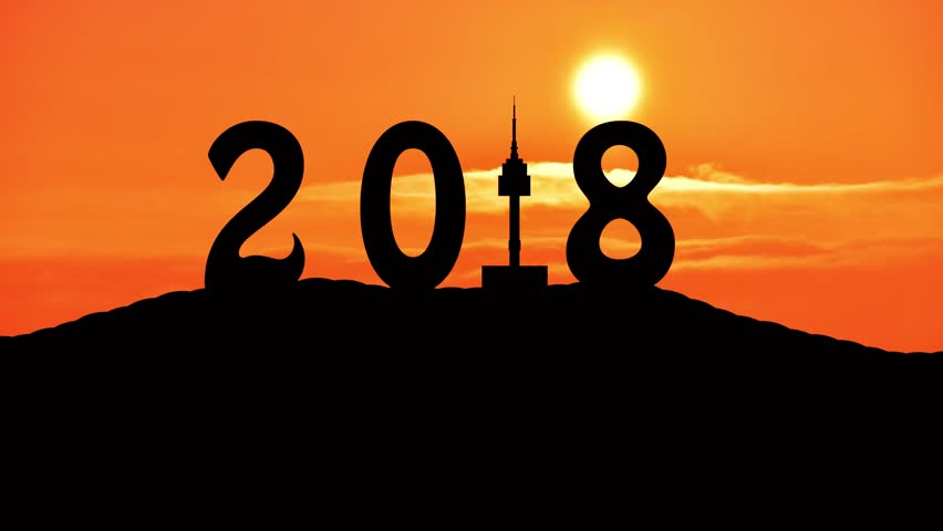 Time lapse Silhouette of Happy new year 2018 of seoul tower at namsan mountain and sunset. | Shutterstock HD Video #31148644