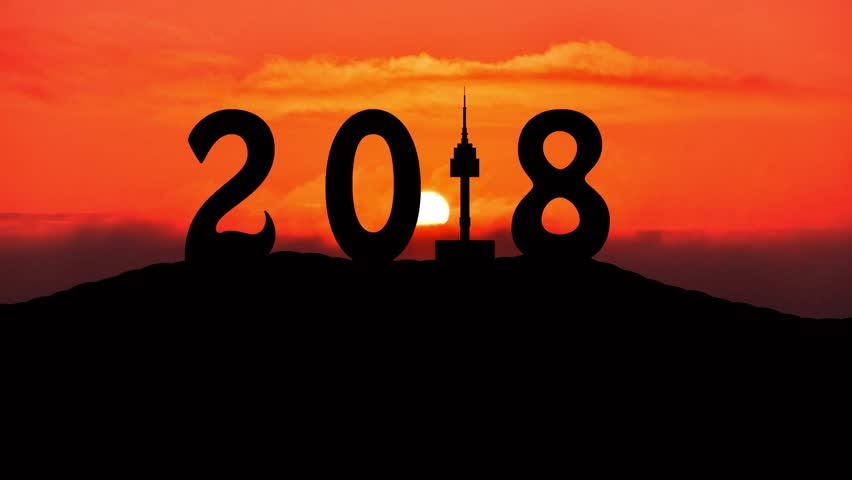 Time lapse Silhouette of Happy new year 2018 of seoul tower at namsan mountain and sunrise. | Shutterstock HD Video #31148647