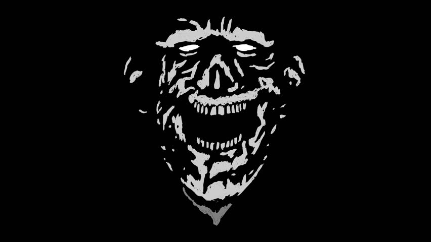 Crazy laughing zombie head with a torn face. Scary monster character. Looped animation in genre of horror.   Shutterstock HD Video #31159048