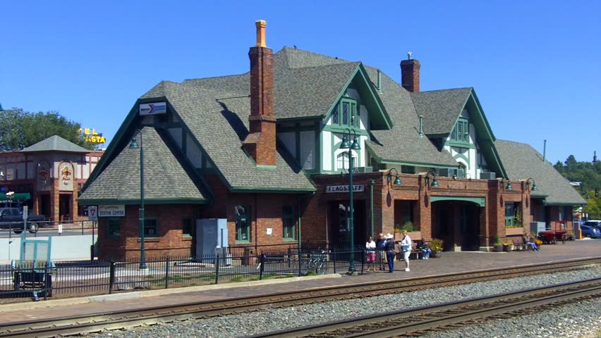 FLAGSTAFF, AZ - September 22, 2012: The Amtrak train station and information center near the historic downtown area. Flagstaff and the Grand Canyon attract many tourists- circa 2012 in Flagstaff.