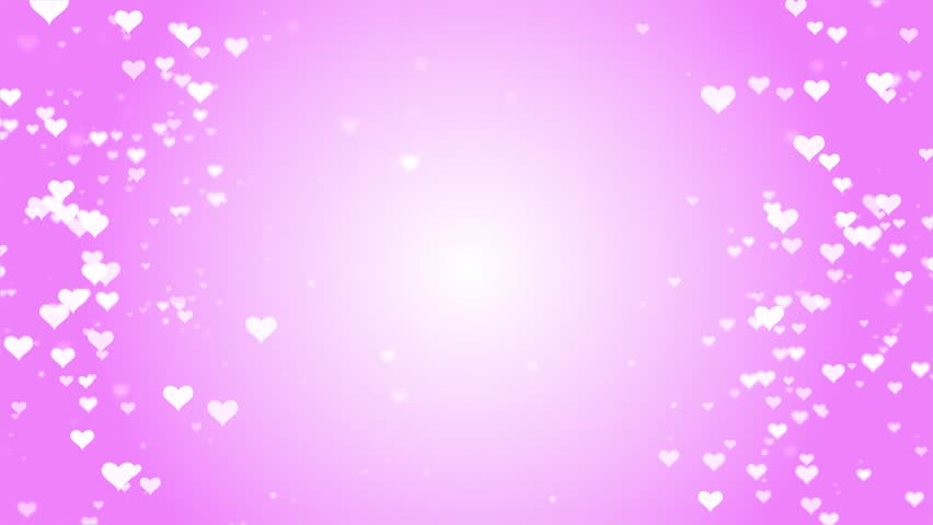 Valentines Day romantic dreamy white Heart particles with pink background.
