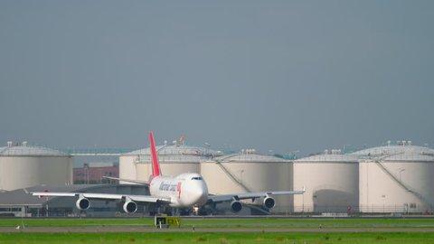 AMSTERDAM, THE NETHERLANDS - JULY 26, 2017: Martinair Cargo Boeing 747 PH-MPS before departure at runway 24 Kaagbaan. Shiphol Airport, Amsterdam, Holland