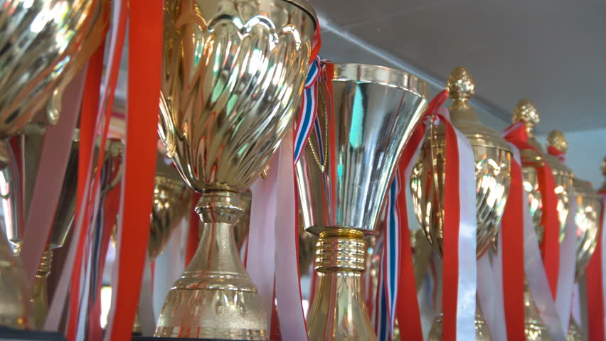 Goblets on Shelve. Champion Achivements. Hall of Fame | Shutterstock HD Video #31195534