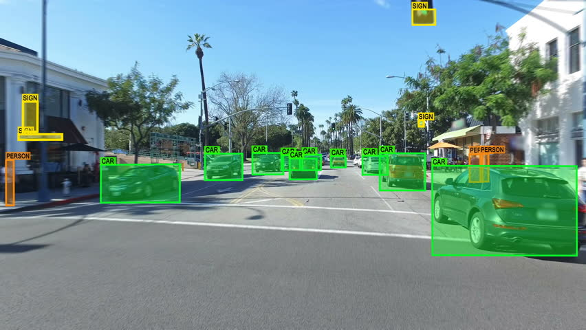 Autonomous car driving through Los Angeles. Computer vision. Object detection system that creates boxes to recognize objects in the streets. Artificial intelligence technology. Driverless.