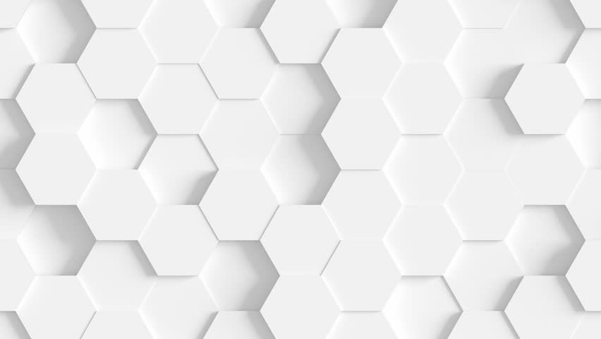 Abstract Hexagon Geometric Surface Loop 1A: light bright clean minimal hexagonal grid pattern, random waving motion background canvas in pure wall architectural white. Seamless loop 4K UHD FullHD. #31206454