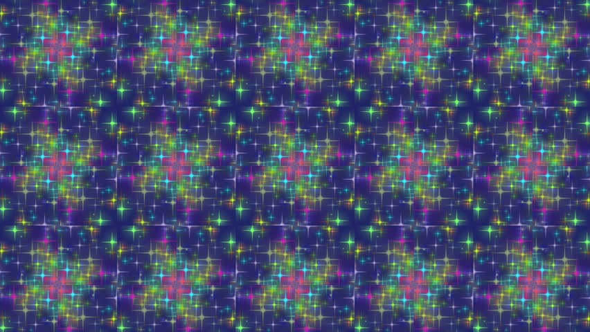 Colorful abstract motion background. Blinking of colorful glitter stars. Seamless loop. Kaleidoscope. #31208338