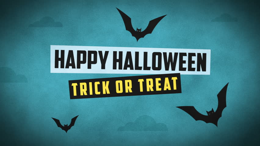 Happy Halloween Forest Mountain Castle Bats. Motion Graphics. Intro Video.   Shutterstock HD Video #31225789