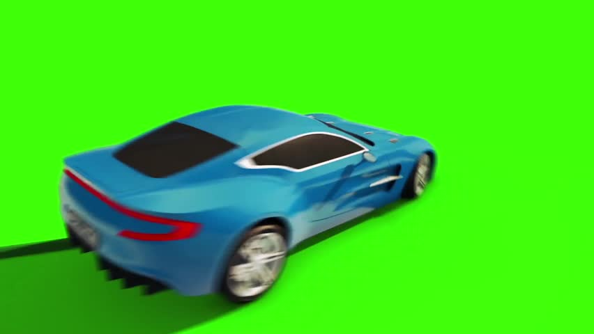 Car Drifting Jumps Markers Green Screen 3D Rendering Animation