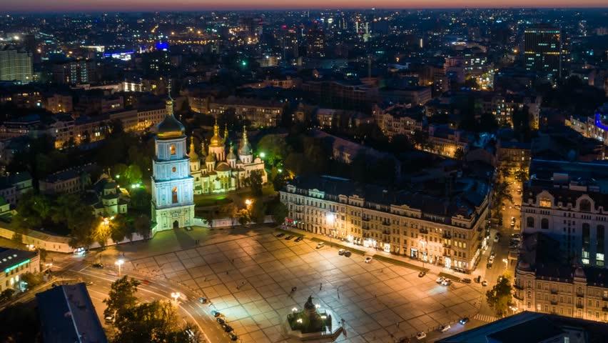 Kiev (Kyiv), Ukraine.  Aerial timelapse of Sofievskaya Square at night. Kiev city center. 4K