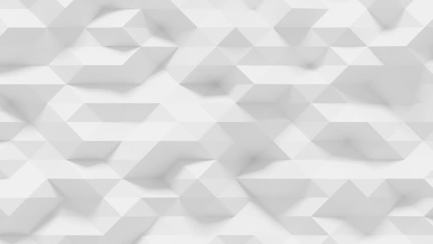 Abstract Polygonal Geometric Surface Loop 4A: light elegant clean soft low poly random motion background of waving pure bright white gray architectural small triangles. Seamless loop 4K UHD FullHD.