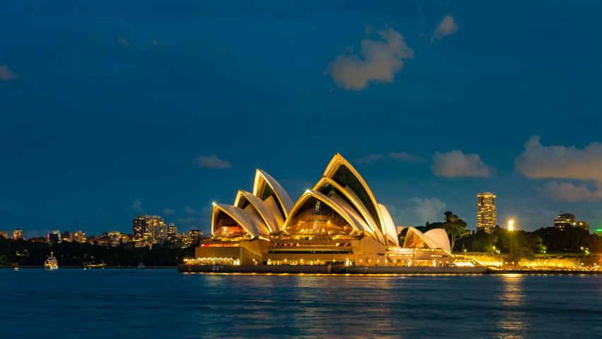 Sydney, Australia - May 14, 2017: 4k timelapse video of Sydney Opera House at night