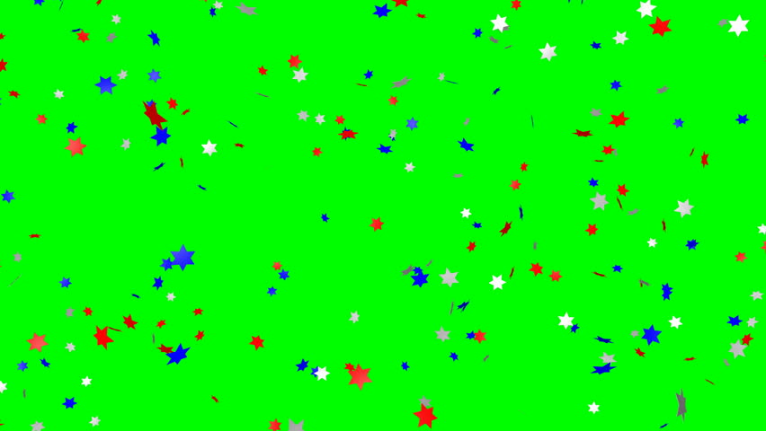 Blue, red and white star confetti (us flag color) - loop, green screen, 4K   Shutterstock HD Video #31252396