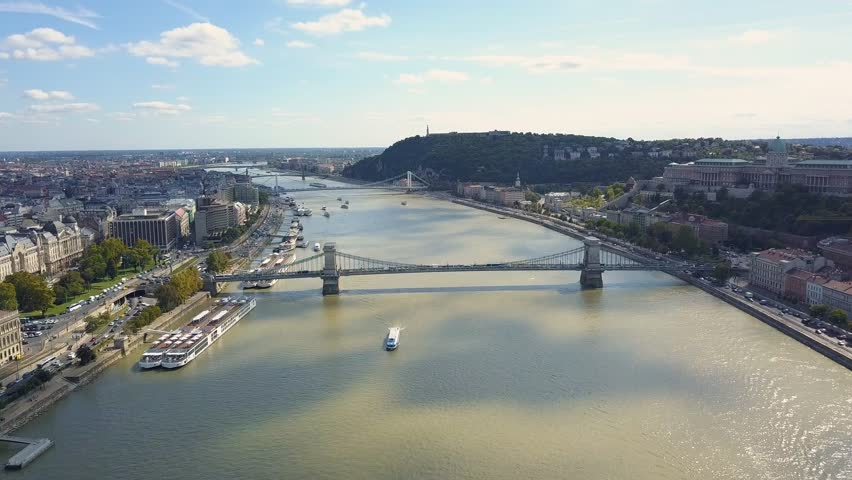Aerial footage from a drone shows the historical Buda Castle near the Danube on Castle Hill in Budapest, Hungary. Bridge on the river. Aerial view. | Shutterstock HD Video #31257040