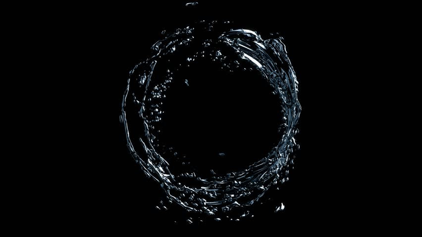 Water circle looping with reflections on black background, Water Splash Spinning flow, Liquid Wave shape from crystal nature water and bubble drop. Alpha matte, slow motion, rapid, seamless loop, cg. | Shutterstock HD Video #31259809